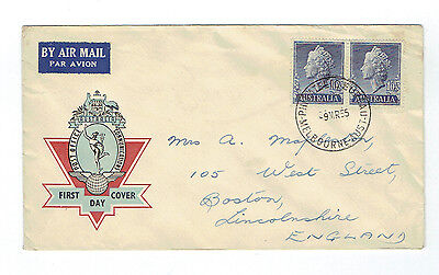 1955 1s 1/2d QE2 Hermes FDC Hand addressed from RAAOC
