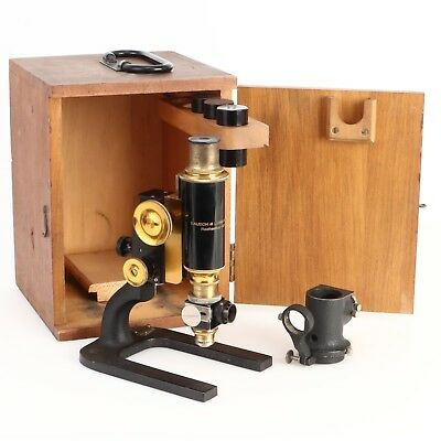 - Bausch & Lomb Antique Cast Iron & Brass Microscope w Lenses Wood Case