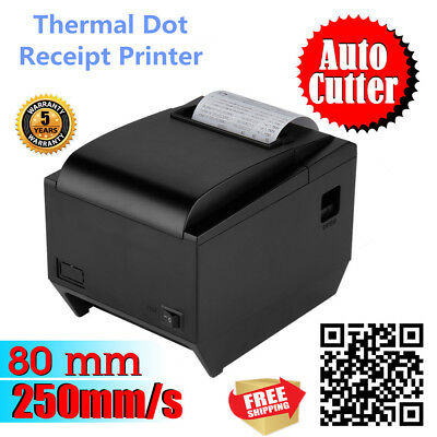 250mm/Sec 80mm ESC/POS Thermal Dot Receipt Printer Auto Cutter Function USB New