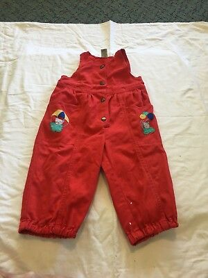 Vintage Red Boy Girl Unisex Overalls Coverall Dungarees Size 1 Retro Child