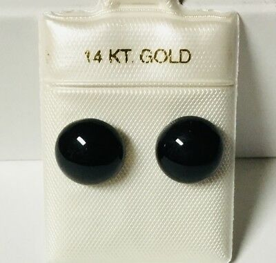 14K Gold 10 mm  Black Onyx Round Button Stud  Earring NEW