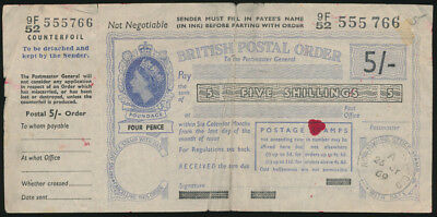 Great Britain: 1965 QEII 5/- Postal Order with Counterfoil. SCARCE