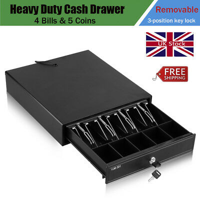 12V Heavy Duty POS Cash Till Drawer Register 4 Bills 5 Coins Cash Tray Removable