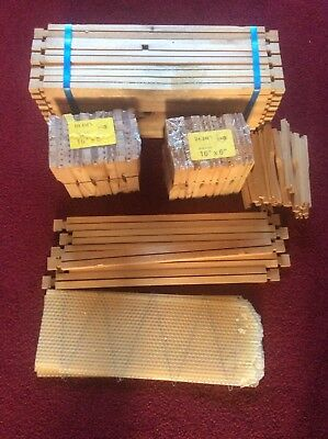 Wooden bee hive frames and brood wax sheets new
