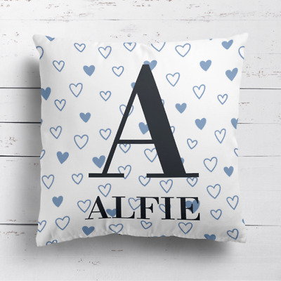 Personalised Name & Initial Kids Childrens Cushion Cover Pillow Love Hearts Boys