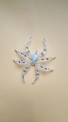 Crystal Silver Glass Beaded Christmas Spider Ornament German Legend of Tinsel