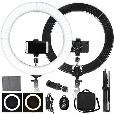 """19"""" 5500K Dimmable LED Ring Light With Stand Makeup Video Height Adjustable"""