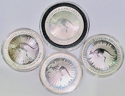 Lot of 4 Australian Kangaroo Silver Coin .9999 2x2016 2017 2018 1 oz In Case NR!