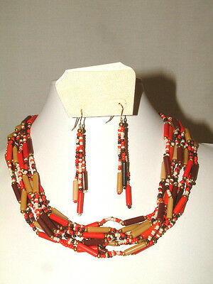 #1364 Striking Mixed Bead Multi Strand Necklace & Earring Set From Orion, New!!!