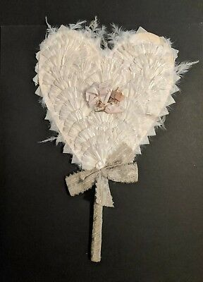 Vintage decorative FAN oriental JAPANESE JAPAN ? Feathers materials HEART