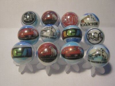 RCA VICTOR GLASS MARBLES LOT COLLECTION 5/8 SIZE & stands
