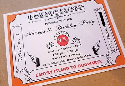 Harry Potter Themed Party Invitations Personalised Pack Of 10 Birthday