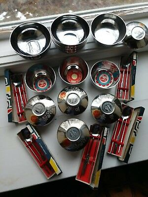 Lot of Stainless Steel Vintage Traditional Asian Rice Bowls, Lids, And Utensils
