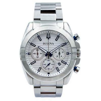 NWOT Bulova 96B307 Men's White Dial Stainless Steel Chronograph Watch