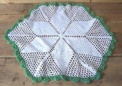 Vintage Handmade White & Green Floral Star Pattern Crochet Doily 15 Inches Wide