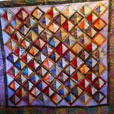 *new* ~**100% Batiks**~ Triangles & Logs On Point~  Quilt Top