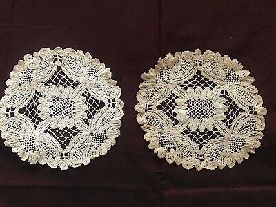 "A Pair of BEAUTIFUL Antique French  HANDMADE LACET LACE DOILY  5 3/4"" diameter"