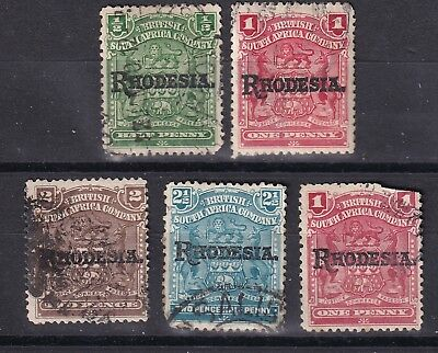 Rhodesia 1909 collection of 5 used