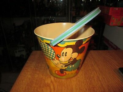 Happynak Disney Tin Toy Sand Pail Seaside 12 Mickey Mouse 1930's pail G