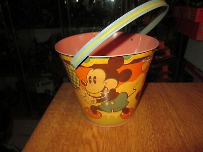 Happynak Disney Tin Toy Sand Pail Seaside 12 Mickey Mouse 1930's pail A
