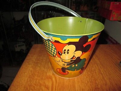 Happynak Disney Tin Toy Sand Pail Seaside 12 Mickey Mouse 1930's pail K