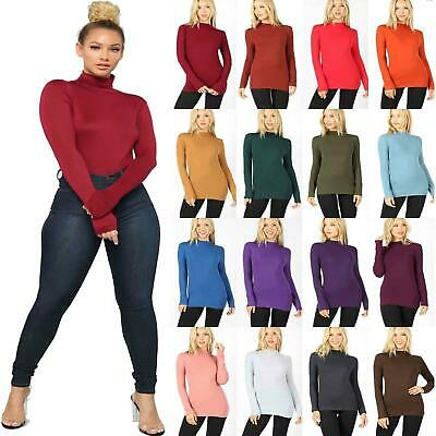 Womens Long Sleeve Polo Neck Roll Neck T Shirt Top Ladies Turtle Neck Jumper Top