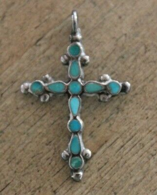 Vintage Sterling Silver Cross Pendant with Teardrop & Round Inlaid Turquoise