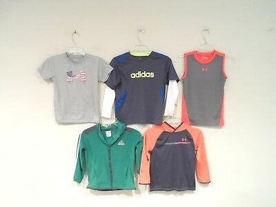 Lot of 5 Under Armour & Adidas Boy's Shirts Size 7 T-Shirt 7T Toddlers Kids Top