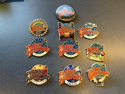 Lot of 10 Planet Hollywood Lapel Pins