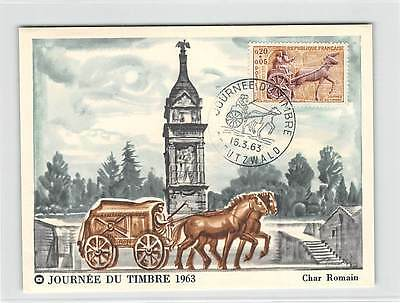 FRANCE MK 1963 JOURNEE TIMBRE KUTSCHE PFERD HORSE CARTE MAXIMUM CARD MC CM d9304