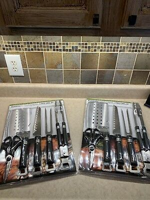 Lot of TWO!!  Cuisinart Chefs Classic 5 Piece Grill Set Spatula Tongs Fork Knife