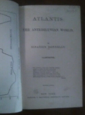 1882 Atlantis Ancient History Maps Islands Proof Donnelly Rare Old Antique Book
