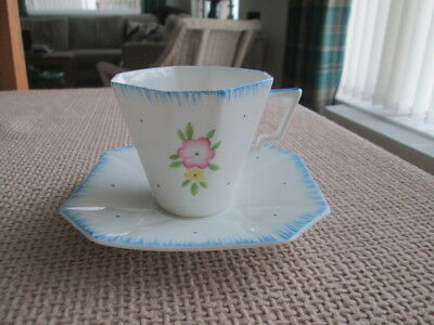 Art Deco Windsor China Pretty Hand Painted Floral Tea Cup And Saucer