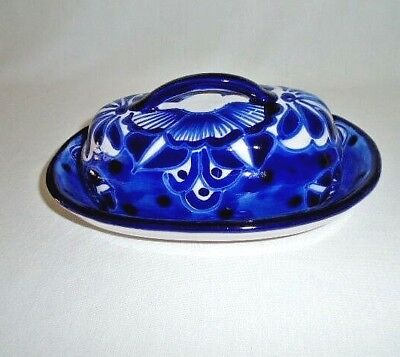 Talavera Pottery Cobalt Blue White Covered Butter Dish Lead Free Mexico New