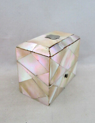 Antique Victorian Mother Of Pearl Box/casket For 2 Small Square Scent Bottles