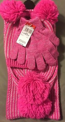 Girls Pink Hat, Gloves & Scarf Set ~ New With Tags ~ S/m 4-7 ~ Nwt