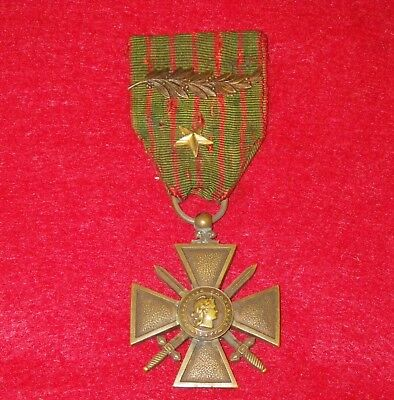 Original WWI French 1917 Croix de Guerre with Palm and Star Medal