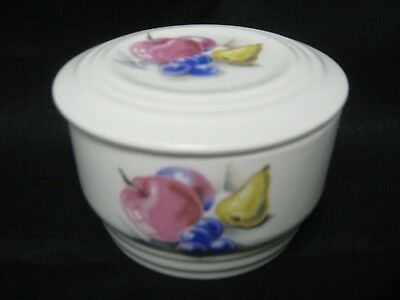 """Vintage 1940's Knowles Utility Ware FRUITS 4"""" Covered Refrigerator Bowl w/Lid"""