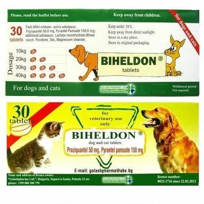30 Tabs Biheldon  Dog and Cat Puppy Wormer/ Dewormer Exp:05/2021