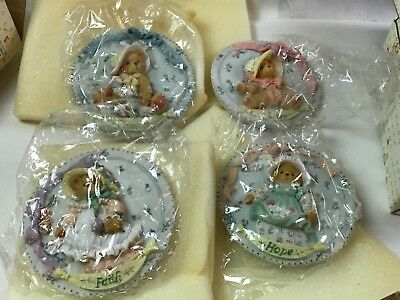 4 Vintage Enesco Cherished Teddies Charity Hope Faith & Love Wall Plaque 1994