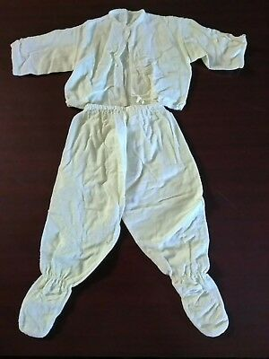 Vintage 1950s Baby Pajamas Yellow 2 Piece Set Footed Handmade #614