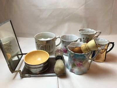 8Pcs. Vintage Shaving Mugs Cups Brushes Folding Mirror Kit Germany