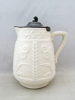 19Th Century White Relief Moulded Small Jug, Flowers, Pewter Lid C1850/60's