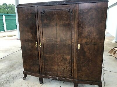 Antique Burl Wood Wardrobe Armoire from England Circa 1940 – STUNNING!!!