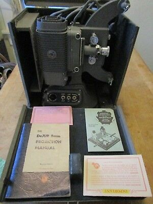 Vintage DeJUR 8mm Film Projector Model 750 Complete w/ Original Case & Manuals