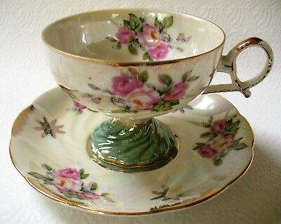 Vintage~LM ROYAL HALSEY~Very Fine~LUSTERWARE~Footed~TEACUP~Saucer~PINK ROSES~EUC