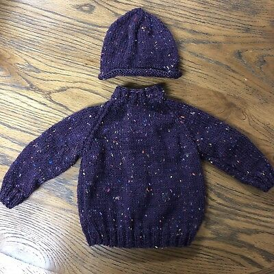 Hand Knitted Baby Boy Or Girl's Purple Jumper & Hat Set 3-6 Months