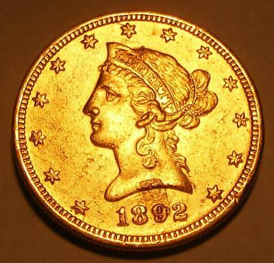 1892 $10.00 Liberty Gold Coin With Double STRUCK THROUGH ERROR