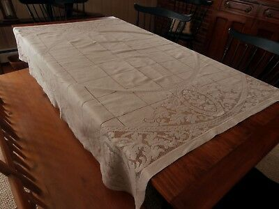 Antique Lace Tablecloth 62 X 61 Taupe Ladder Stitch Square And Floral Design