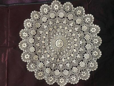 "STUNNING French ANTIQUE HANDMADE CROCHET LACE DOILY 29"" diameter"